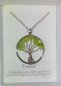 Tree of Life Gemstone Pendant - Peridot
